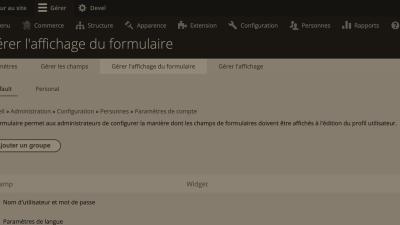 Back-office affichage du formulaire d'entité Drupal